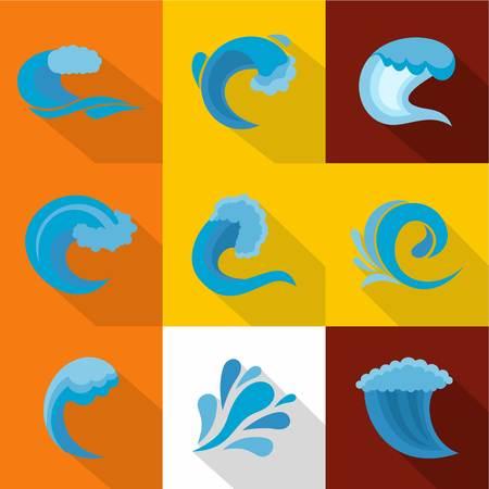 Large wave icons set. Flat set of large wave vector icons for web isolated on white background