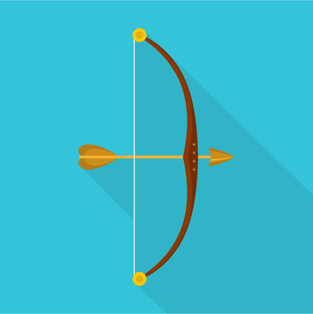 Bow and arrow icon. Flat illustration of bow and arrow vector icon for web Çizim