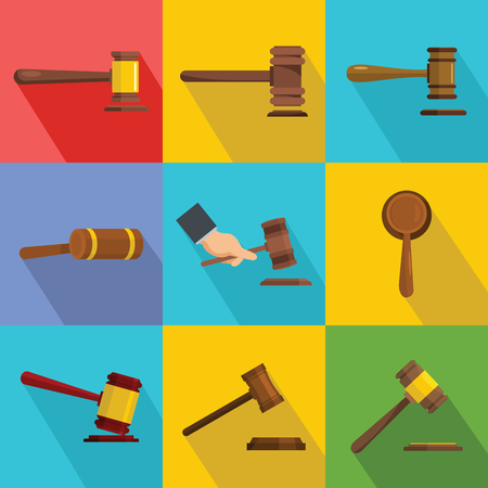 Flat illustration of 9 judge hammer vector icons for web Çizim