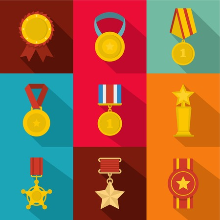 flat set of 9 medals vector icons for web isolated on  background
