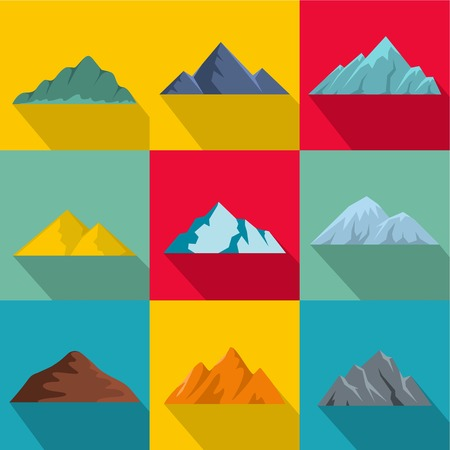 flat set of 9 high mountain vector icons for web isolated on   background Illustration