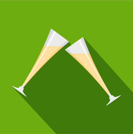 Touching glass icon. Flat illustration of touching glass vector icon for web