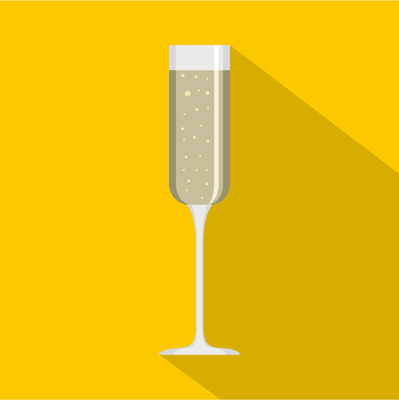 Champagne glass icon. Flat illustration of champagne glass vector icon for web