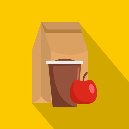 Lunch package icon. Flat illustration of lunch package vector icon for web