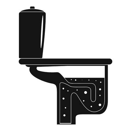 Toilet sewage graphic element on black and white Illustration.