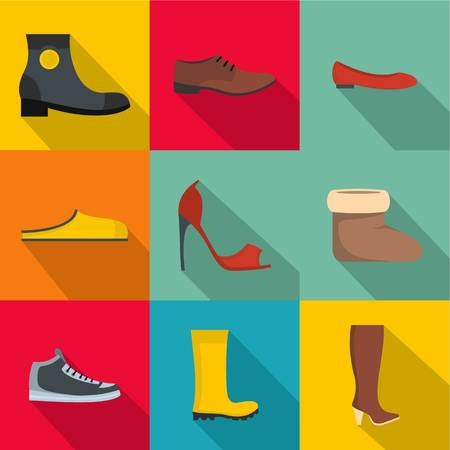 flat set of 9 convenient footwear vector icons for web isolated on white background Çizim