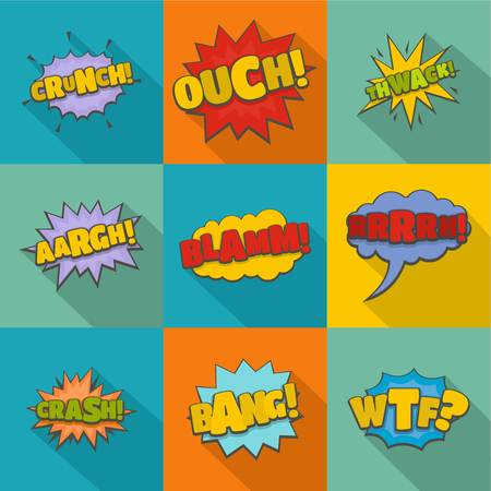 Expression and sound effect icons on pop art illustration. Ilustrace