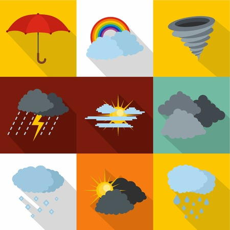 Set of weather in colored illustration. Stock Illustratie