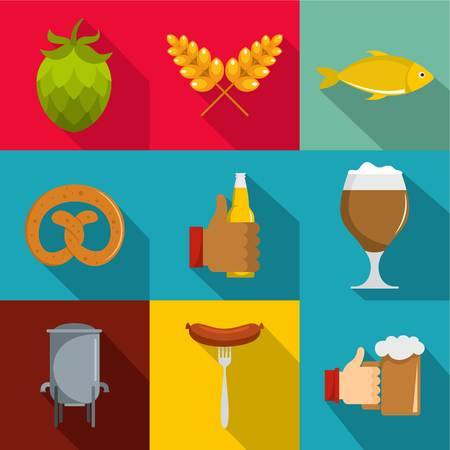 Flat set of 9 Deli vector icons for web isolated on colored background.