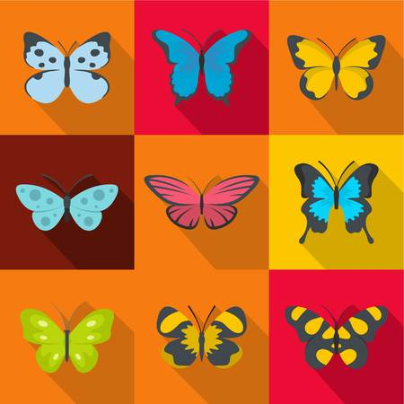 Flat set of 9 forest butterfly vector icons for web isolated on colored background.
