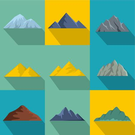 Flat set of 9 mountains vector icons for web isolated on colored background.