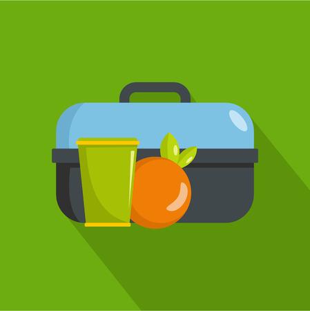 Pranzo nella casella icona. Illustrazione piana di pranzo nell'icona di vettore della scatola per il web