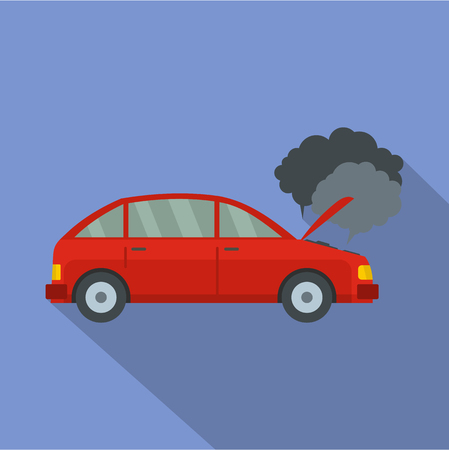 Car in smoke icon. Flat illustration of car in smoke vector icon for web