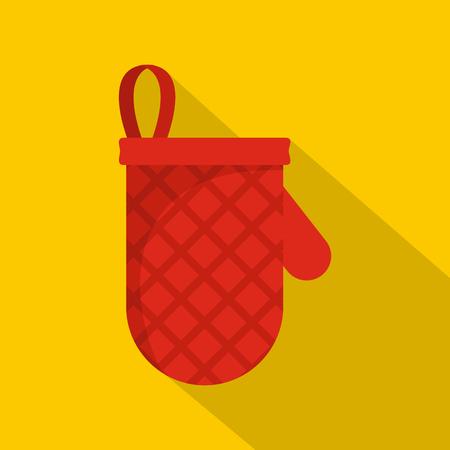 Kitchen mitten icon. Flat illustration of kitchen mitten vector icon for web