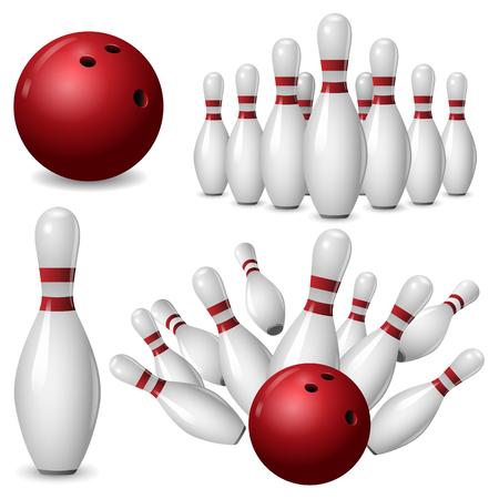 Bowling kegling mock-up set.