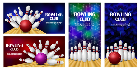 Bowling kegling banner concept set. Realistic illustration of 4 Bowling kegling vector banner horizontal concepts for web