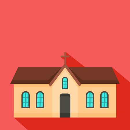 Small church icon. Flat illustration of small church vector icon for web Illustration