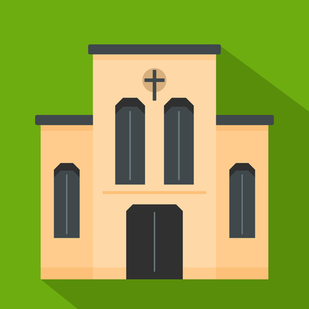 Church with cross icon. Flat illustration of church with cross vector icon for web