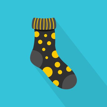 Dotted sock icon design on blue background Illustration