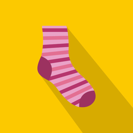 Pink and purple striped sock icon on yellow background