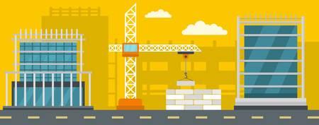 Construction banner horizontal. Flat illustration of construction vector banner for web