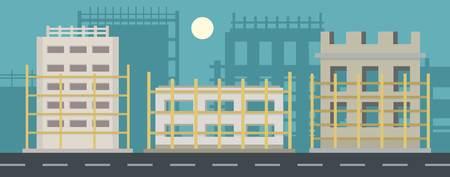 Baner projektu domu poziome. Płaska ilustracja transparent wektor projektu domu dla sieci