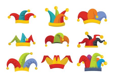 Conjunto de iconos de sombrero de bufones tontos. Ilustración plana de 9 iconos de vector de sombrero de bufón para web Ilustración de vector