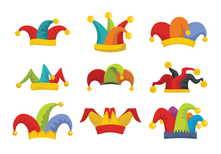 Jester fools hat icons set. Flat illustration of 9 Jester fools hat vector icons for web