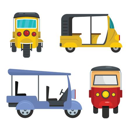 Tuk rickshaw Thailand icons set. Flat illustration of 4 tuk rickshaw Thailand vector icons for web