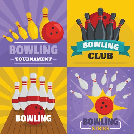 Bowling banner concept set. Flat illustration of 4 Bowling vector banner horizontal concepts for web