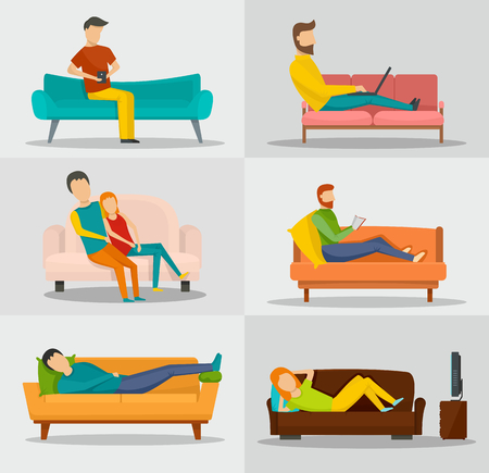 Sofa chair room couch banner concept set. Flat illustration of 6 sofa chair room couch vector banner horizontal concepts for web