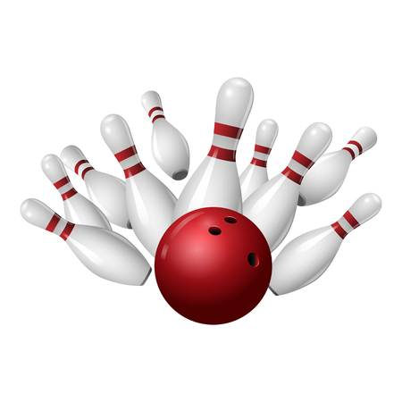 Bowling strike icon. Realistic illustration of bowling strike vector icon for web