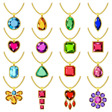 Necklace jewelry chain set. Realistic illustration of 16 necklace jewelry chain for web Stock Vector - 98532727