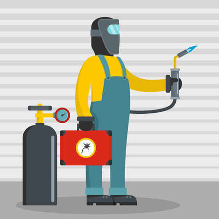 Working welder icon. Flat illustration of working welder vector icon for web Vettoriali