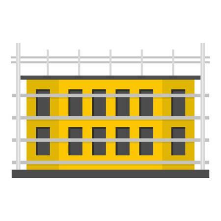 School construction icon. Flat illustration of school construction vector icon for web