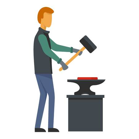 Man blacksmith icon. Flat illustration of man blacksmith vector icon for web Ilustracja
