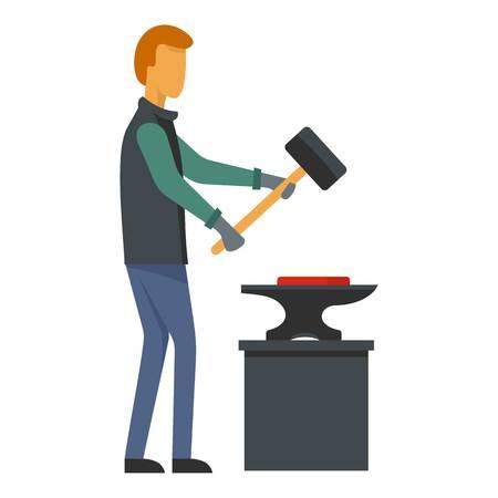 Man blacksmith icon. Flat illustration of man blacksmith vector icon for web Stock Illustratie