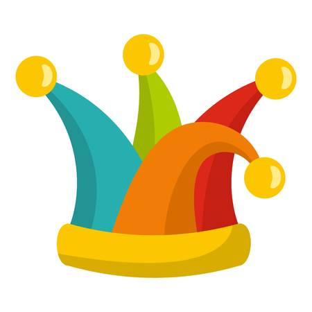 Jester cap icon. Flat illustration of jester cap vector icon for web