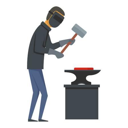 Working blacksmith icon. Flat illustration of working blacksmith vector icon for web
