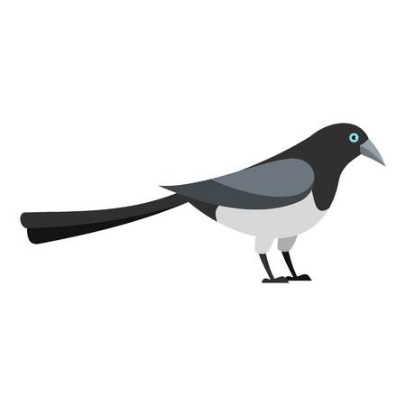 Standing magpie icon. Flat illustration of standing magpie vector icon for web