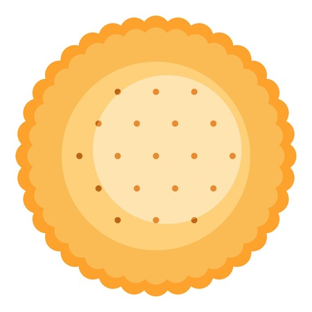 Round biscuit icon. Flat illustration of round biscuit vector icon for web