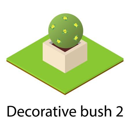 Round bush icon. Isometric illustration of round bush vector icon for web