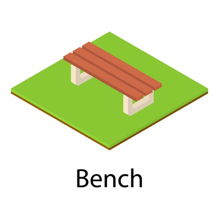 Small bench icon. Isometric illustration of small bench vector icon for web
