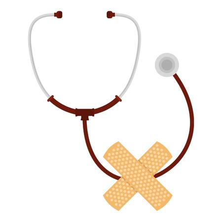 Stethoscope and cross icon. Flat illustration of stethoscope and cross vector icon for web