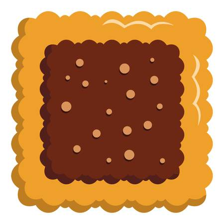 Square biscuit icon. Flat illustration of square biscuit vector icon for web