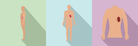Spleen milt human anatomy icons set
