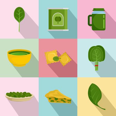 Spinach salad leaves vegetables icons set flat illustration.