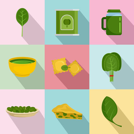 Spinach salad leaves vegetables icons set flat illustration.
