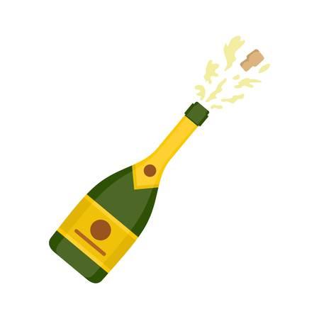 Champagne icon flat illustration.