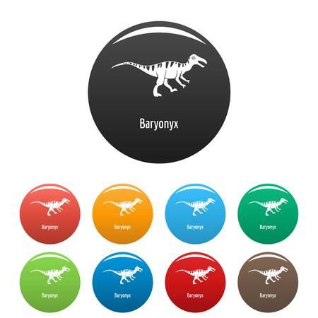 Simple illustration of baryonyx icons  isolated on white Vettoriali